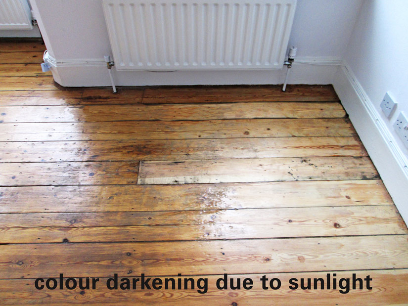 darkened floor due to sunlight