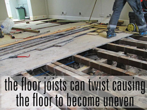 Floor joists twisting causing wood floor to become uneven