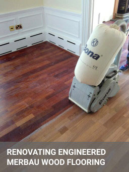 Engineered wood floor sanding with Bona equipment