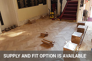 Supplying and fitting parquet blocks in a school