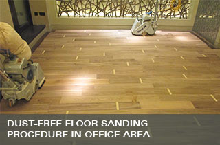 Office floor sanding process with dustless equipment