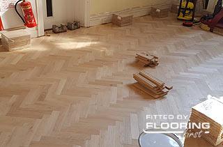 parquet flooring fitted in a school