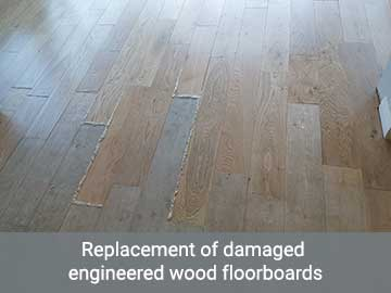 Replacement of damaged engineered wood floorboards