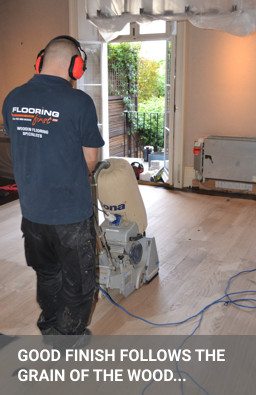 Sanding hardwood flooring with Bona Belt machine