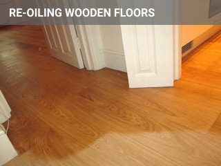 re-oiling process on wood floor