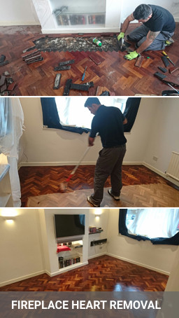 Repair and refinishing parquet floor after fireplace heart removal