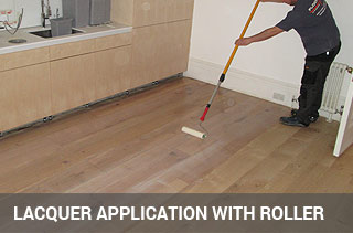 lacquer application on wood flooring