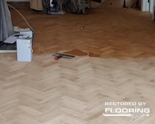Gap filling on newly installed parquet flooring
