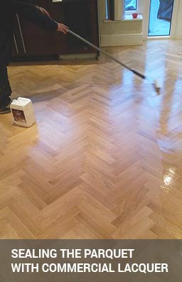 parquet floor sealing with commercial lacquer