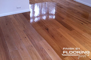 wood floor during the application of the finish