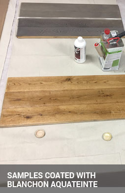 samples after the application of aquateinte stain