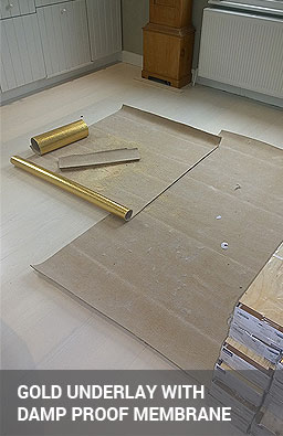 Gold underlay with integrated damp and sound proof membrane