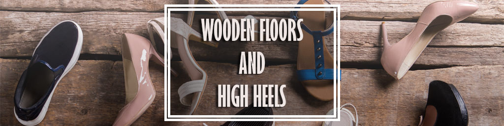 high heels on wooden floor
